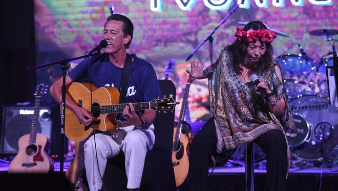 Yvonne Elliman joins husband Allen Alexander for an acoustic set during her concert at the Dusit Thani Resort Guam on Aug. 19, 2017.