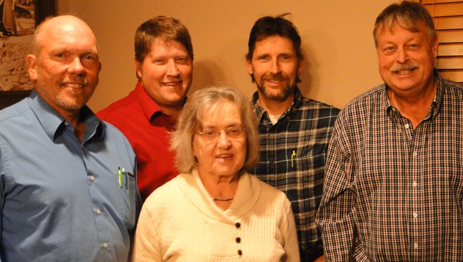 During their annual WFU Chapter meeting in Fond du Lac last week, members of the Dodge/Fond du Lac/Sheboygan/Ozaukee chapter of Wisconsin Farmers Union elected officers and discussed resolutions to be presented to the state WFU convention for consideration in January.  Officers include (left to rgith) Rick Adamski, Merribel, district director; Darin Von Ruden, state WFU president; Agnes Jaeger, chapter secretary/treasurer; Joe Schauer, chapter vice president; and Joel Narges, chapter president.