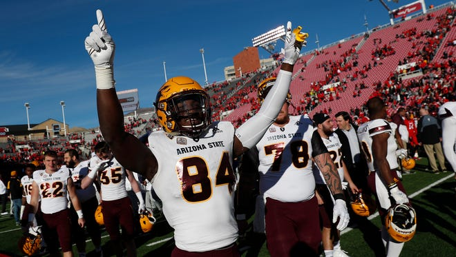 Oct 21, 2017; Salt Lake City, UT, USA; Arizona State Sun Devils wide receiver Frank Darby (84) celebrates their 30-10 win against the Utah Utes at Rice-Eccles Stadium. Mandatory Credit: Jeff Swinger-USA TODAY Sports