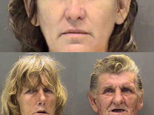 Judy Lamb (top) Mona Gehman (left) and Eddie Roden (right) are the pictured trio arrested on animal cruelty charges in the death of Gerogie, a 7-pound Pomeranian, by the Sarasota County Sheriff's Office.