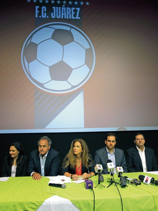 Laura Munoz, Alvaro Navarro, Alejandra de la Vega-Foster, Rodrigo Cuaron and Paul Foster wait to answer questions from the news media after announcing the new F. C. Juárez soccer team in Juárez, Mexico Friday afternoon. Sergio Orduña was introduced as the first coach of the new team as it begins to take shape.