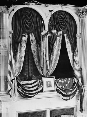 This April 1865 photo provided by the Library of Congress shows President Abraham Lincoln's box at Ford's Theater, the site of his assassination.