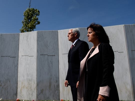 Vice President Pence and his wife, Karen, tour the Flight 93 National Memorial on Sept. 11, 2017, in Shanksville, Pa.