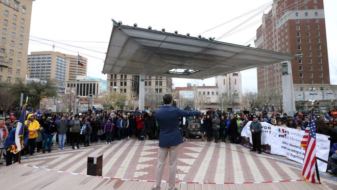 U.S. Rep. Beto O'Rourke addresses a crowd who turned out to a Dreamers Rally in San Jacinto Plaza Sunday. The event, which featured a variety of speakers, included two Dreamers who gave their personal experiences. Speakers included County Judge Veronica Escobar, State Sen. Jose Rodriguez, City Rep. Lily Limon, El Paso school district trustee Susie Byrd and Fernando Garcia of the Border Network for Humah Rights.
