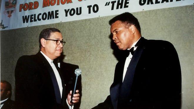 Former FAMU National Alumni President Bernard Kinsey greets Muhammad Ali at 1999 national convention in Orlando.