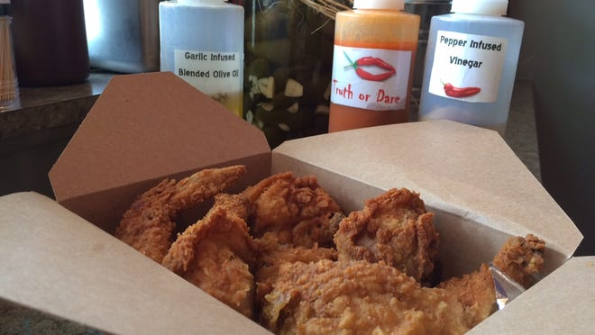 This is a box of fried chicken from The Pecking Order, which opened in November on Sanibel.