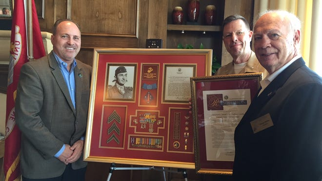 From left, Indio Mayor Pro Tem Glenn Miller, Ret. U.S. Marine Corps Lt. Col. Carl Lewke and George Stettler, President, 1st Marine Division Association Desert Cities Chapter, during a luncheon on May 21 at the Classic Club in Palm Desert.