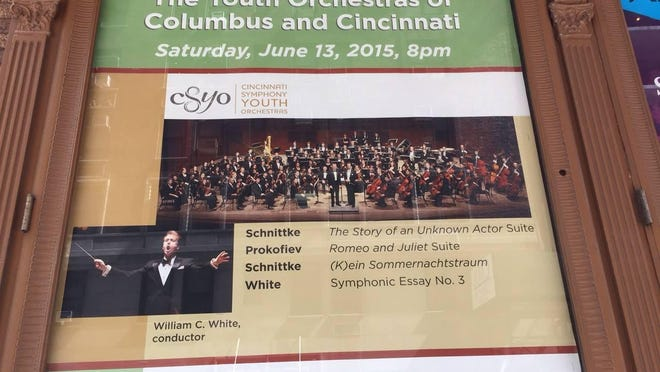 A poster outside of Carnegie Hall in New York advertises the Cincinnati Symphony Youth Orchestra performance on June 13.