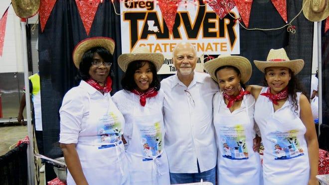 Linda Johnson, Velma and state Sen. Greg Tarver, Rebekah Tarver, Carolyne Tarver at Greg's at Gentleman's Cooking Classic.