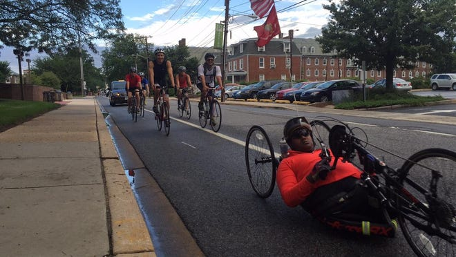 U.S. Marine Sgt. Toran Gaal made a brief stop in Newark Wednesday morning as he rides across country to benefit the Semper Fi Foundation.