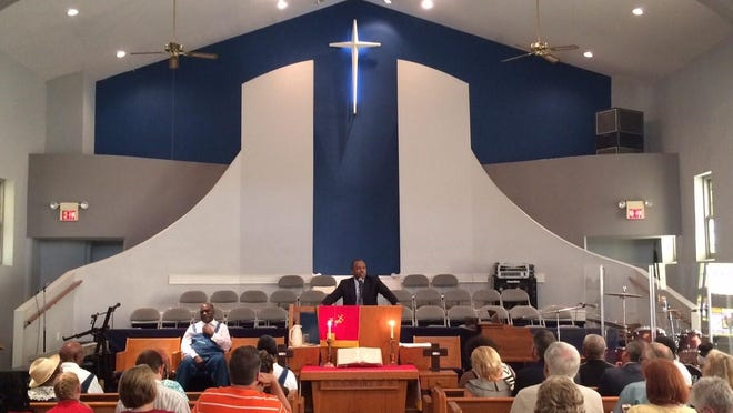 Carson shares his story at Maple Street Missionary Baptist Church in Des Moines on Sunday.