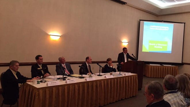 Triumph Golf Coast, Inc. board of directors listen during the public comments section of their inauguaral meeting Monday morning in the Sandestin Golf and Beach Resort, Bayside Ball Room, Miramar Beach.