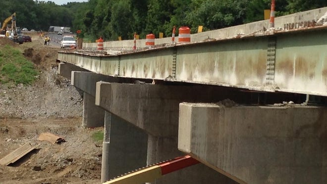 Nicholson Construction Co., of Pennsylvania, is drilling test piles to develop a plan to stabilize the northbound Interstate 65 bridge over Wildcat Creek, Indiana Department of Transportation spokeswoman Debbie Calder said on Tuesday, Aug. 18, 2015. The state on Aug. 7 closed a section of northbound I-65 due to safety concerns about a bridge pier that sank during construction to widen the interstate.