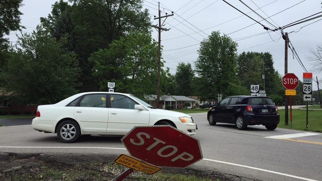 A bent stop sign earlier this year in Goshen Township. One reader reminds drivers to pay attention to stop signs.