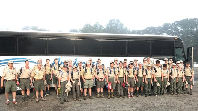 Local scout contingent, Troop 1409, includes scouts from various troops in Morris County.