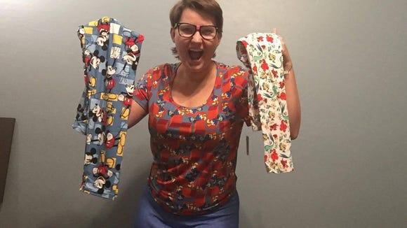 LuLaRoe consultant Sharon Schwarz shows off some of the new Disney fabrics