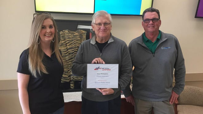 Insurance agent Lexi Thompson, Ardmore City Schools Superintendent Kim Holland, and AirMedCare sales manager Larry Fitzpatrick. Thompson has worked with Fitzpatrick to provide emergency air ambulance protection to area high school athletic programs.