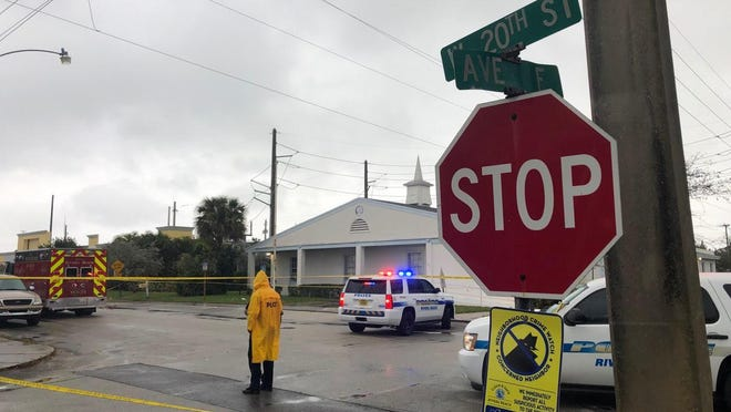 The exterior of Victory City Church in Riviera Beach is surrounded by crime scene tape on Feb. 2, 2020. Three people were shot in the street in front of the church Saturday afternoon following a funeral service.  One adult male and a 15-year-old boy died at the scene, police say.