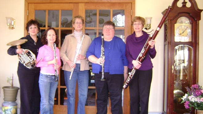 Mountain Winds to perform Tuesday on the Grand Lawn at Shawnee Inn, Shawnee-on-Delaware. Pictured are: Jenny Galunic, horn; Donna Predmore, flute; Lisa Schwartz, bassoon; Molly Malone, oboe; and Marta Oberlin, clarinet. The group performs a variety of music, from classical to contemporary, pops to patriotic, and marches, ragtime, and Dixieland.