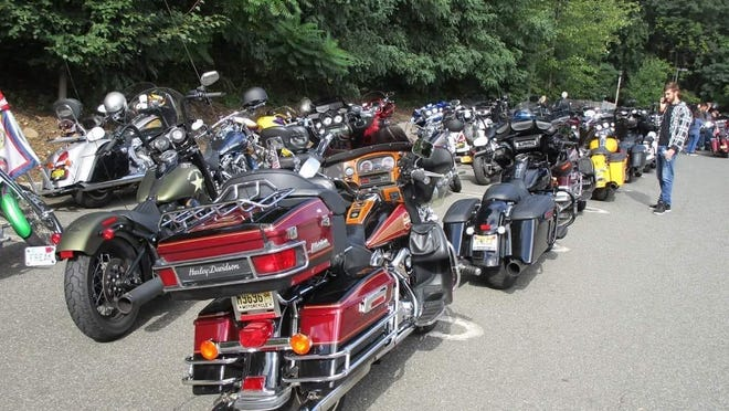 Bikes line up for the August 2019 memorial ride to honor Peter Kamper Jr., a Pompton Lakes police officer who died following a 2017 motorcycle accident.