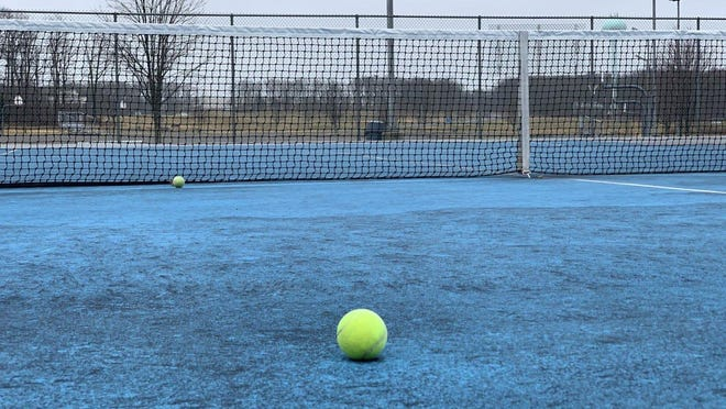 Empty tennis courts are seen at East Stroudsburg High School North in Bushkill in March 2020. Health and safety restrictions will be in place when fall sports start as scheduled across the PIAA. Currently, state guidelines do not allow for spectators.