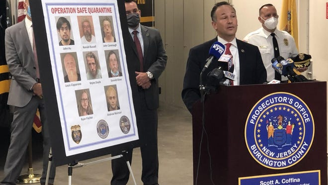 Burlington County Prosectuor Scott Coffina announces charges against seven men arrested as a result of Operation Safe Quarantine, a multi-agency investigation targeting child predators during the pandemic.