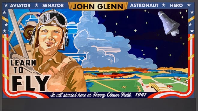 This a rendering by artist Sarah Dugger of a proposed mural of astronaut John Glenn that would be installed at Harry Clever Field in New Philadelphia.
