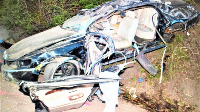 The driver of this vehicle and four occupants were injured in a July 3 single-car crash attributed to excessive speed and alcohol.