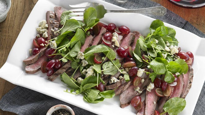 Grilled Flank Steak with Grapes and Stilton.