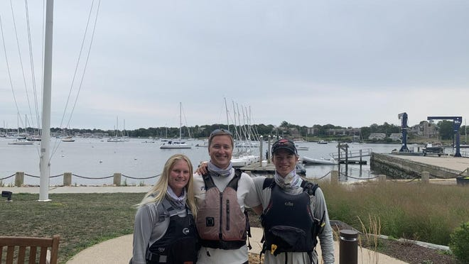 Sailing Instructor Becca Read, of Middletown; Program Manager Ian Maccini, of Jamestown; and Sailing Instructor Peter Cronin, of Newport, were among the Sail Newport members who helped sailors after a squall moving through Narragansett Bay late Tuesday.