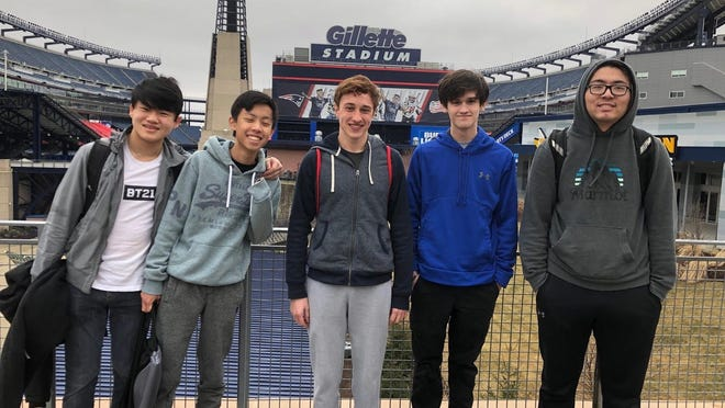Here are ABRHS esports team members Pride Jia, Eric Zhao, Ryan Edmunds, Aymeric Perraud, Evan Xu (not pictured, coach Steve Martin).