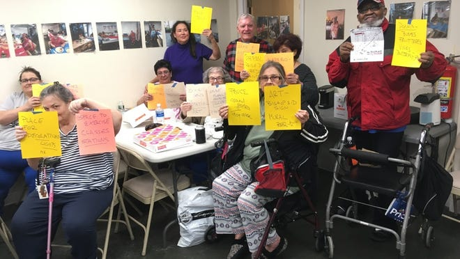 Chor Bishop Eid residents met on Feb. 18 to come up with ideas for how to prove the shared spaces of their home. Juana Ahmed, Coretta Carreira, Debbie Cloe, Eleanor Costa, Vivian Cote, Arnaldo Ferreira, Katie Goldman, Donald Hamilton, Rachel Swedinovitch all contribute suggestions.