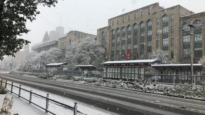 A scene from the Boston University campus after an  unusual October snowstorm in Boston on Oct. 30.