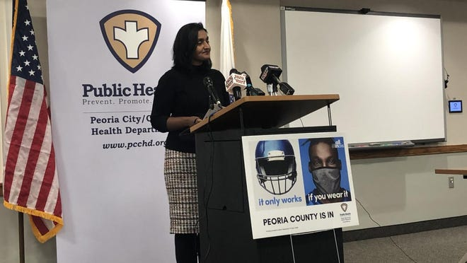 Peoria City/County Health Department administrator Monica Hendrickson speaks Thursday at the department's weekly COVID-19 news conference.
