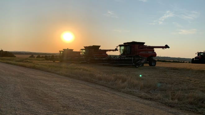 Combines with full bins parked close to a pair of grain carts, also full, shortly after 8 p.m. Tuesday near the intersection of Burma and Farrelly roads. The farmer, who declined to give his name, was among the first to harvest wheat this season in Saline County.