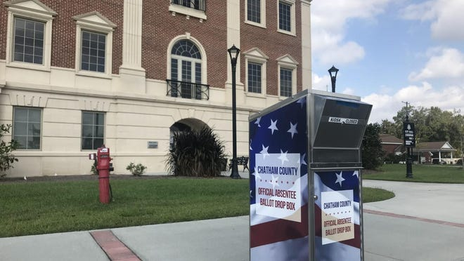 An absentee ballot drop box sits outside Pooler City Hall on Tuesday. As of Wednesday, the box was accepting ballots.