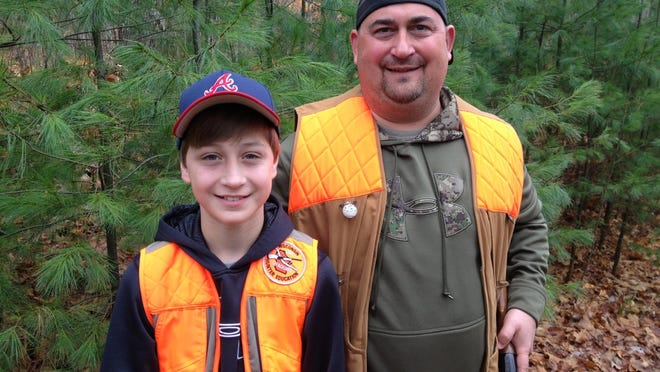 Thirteen-year-old Pete Hunsader of Appleton is learning how to hunt and picking up the hobby with the help of his father, Al.