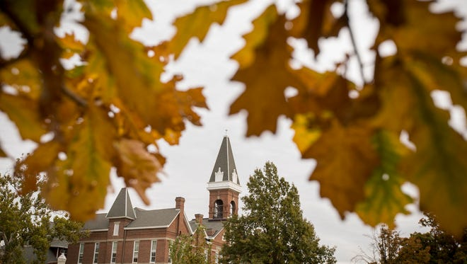 Old Main is surrounded by fall colors at Drake University in October 2015 in Des Moines, Iowa.