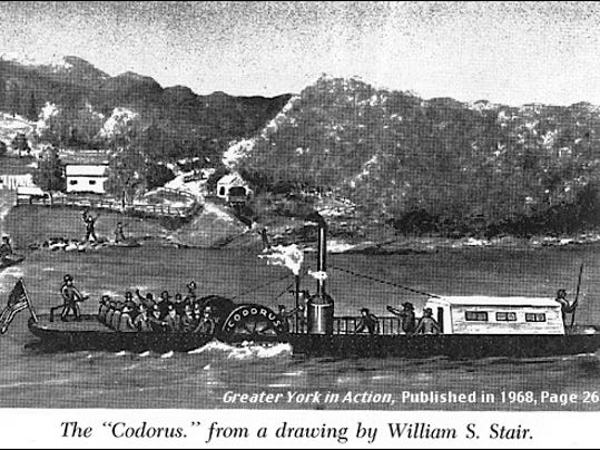 The Codorus, from a drawing by William S. Stair (Greater York in Action, by The York Area Chamber of Commerce, 1969; page 261)