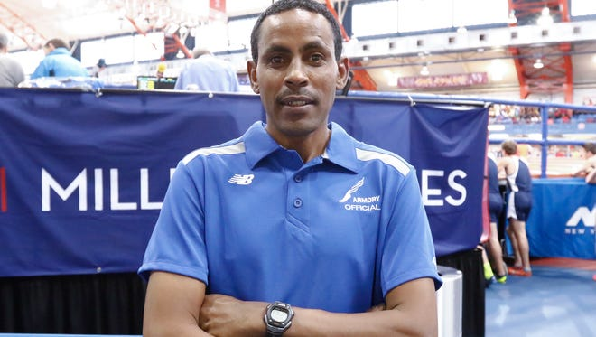 Ethiopian athlete Million Wolde, gold medal winner in the 2000 Olympics in Sydney, lives in Tarrytown and works as a coach at the Masters School, photographed during the 22nd annual New Balance Games at The Armory New Balance Track & Field Center in New York on Saturday, January 21, 2017.