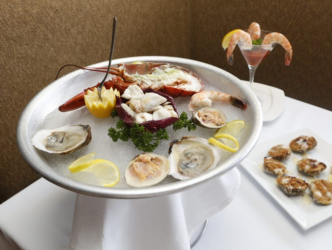 The seafood tower is photographed at Sparkill Steakhouse March 20, 2014.
