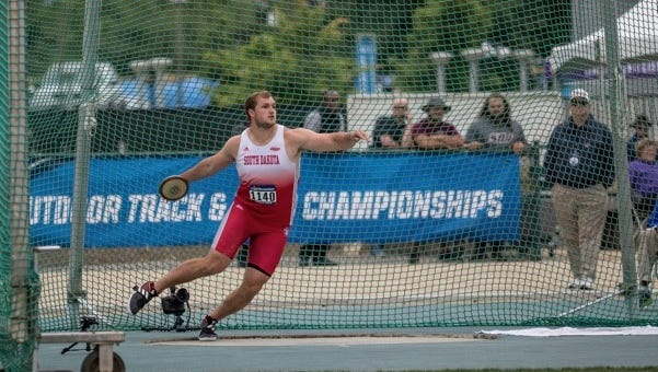 Ben Hammer of the University of South Dakota set a discus record for the Summit League and participated in the NCAA Championships.