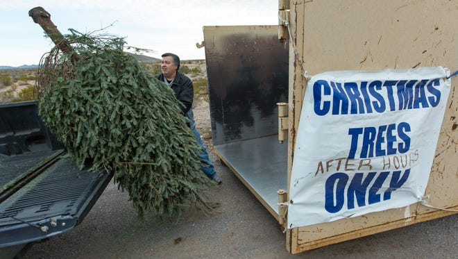 "Archie Martinez, of Las Cruces, recycles his Christmas tree in the after-hours bin on Monday, Jan. 2, 2017, at the city of Las Cruces Old Foothills Landfill. ""It is a tradition each year to get a real Christmas tree, then we recycle it,"" said Martinez. ""The grandkids Jordan, Asher and Olivia are the ones who enjoy it most."" The landfill is open weekdays from 8 a.m. to 4 p.m. and Saturday from 9 a.m. to 3 p.m. The trees are recycled into mulch and compost."