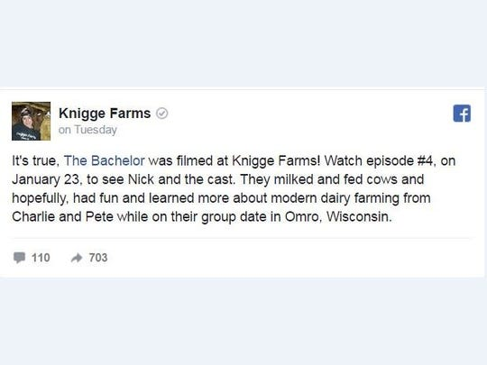 The Knigge family confirmed the news of the taping on its Facebook page Tuesday.