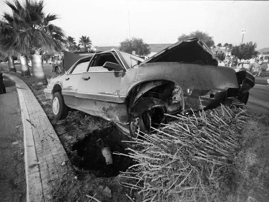 An unidentified driver, who was fleeing from police, was killed when he struck a palm tree on Bob Hope Drive on June 28, 1991.