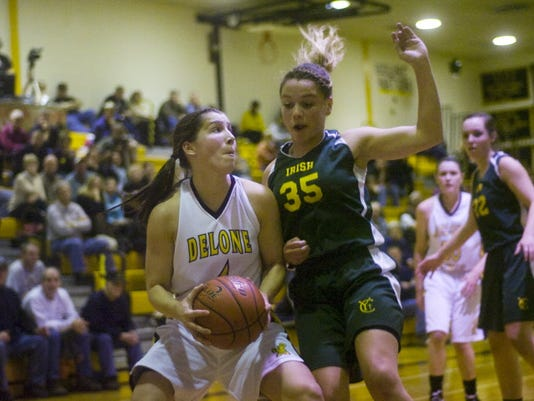 York Catholic's Zaenna Echevarria, right, defends Delone Catholic sophomore Maddie Comly during the second regular-season meeting in McSherrystown. They could meet again, but it wouldn't be until the District 3 Class AA championship game. (GAMETIMEPA.COM -- SHANE DUNLAP)