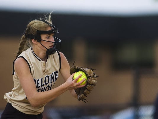 Delone Catholic freshman Cassie Rickrode delivers a pitch