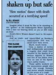 Clipping from the May 28, 1992 Indianapolis Star detailing the close call between safety worker Steve Wissen and driver Buddy Lazier's car.