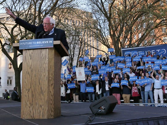 Bernie Sanders addresses supporters during a campaign rally on New Haven Green in New Haven, Conn., on April 24, 2016.