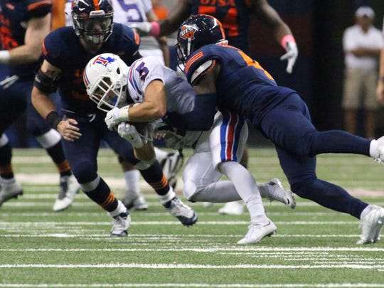 Louisiana Tech wide receiver Trent Taylor hauled in 12 catches for 140 yards Saturday against UTSA.